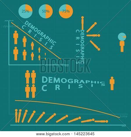 Demographic crisis infographic set of  the stick figure. Vector illustration