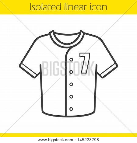 Baseball t-shirt linear icon. Thin line illustration. Softball player's uniform t shirt. Contour symbol. Vector isolated outline drawing