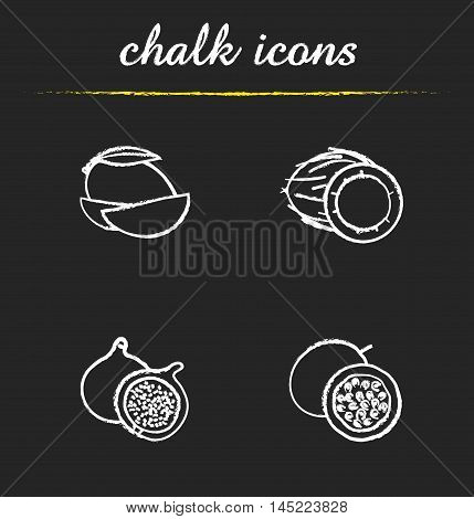 Fruit icons set. Sliced mango, open coconut, halved fig, cutted passion fruit illustrations. Isolated vector chalkboard drawings