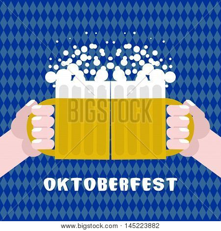 Sharing Drinking Beer. Two Men Holding Cups With Alcohol. Poster For Oktoberfest. National Tradition