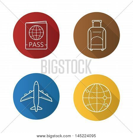 Air travel flat linear long shadow icons set. International passport, luggage suitcase on wheels, plane flight, worldwide globe symbol. Vector line symbols
