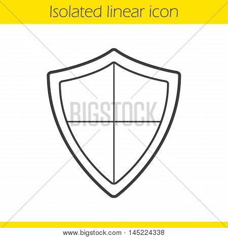 Shield linear icon. Thin line illustration. Protection, security, defense, guard, armour and safety contour symbol. Vector isolated outline drawing