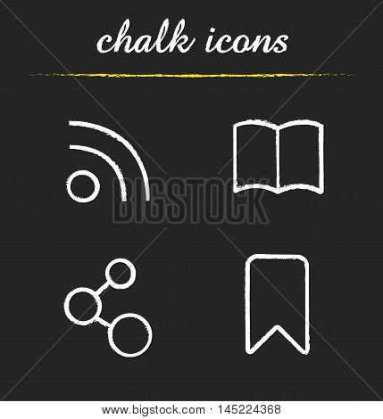 Web browser icons set. Rss feed, open book, network connection and add to bookmark illustrations. Isolated vector chalkboard drawings