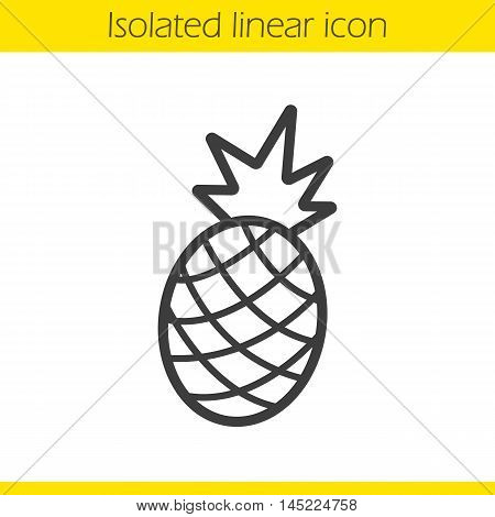 Pineapple linear icon. Thin line illustration. Ananas contour symbol. Vector isolated outline drawing