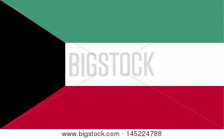 Kuwait flag official colors and proportion correctly. National Kuwait flag