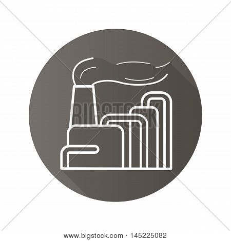 Factory flat linear long shadow icon. Industrial factory building with smoke cloud. Air pollution. Vector line symbol