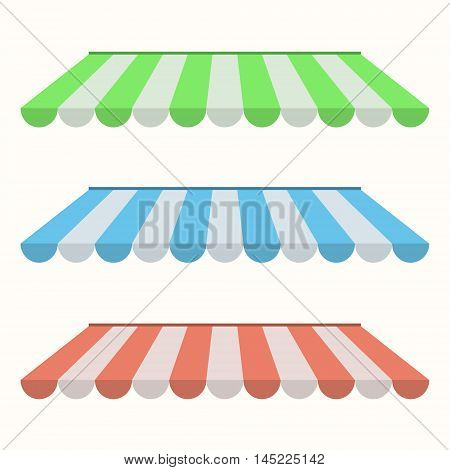 Set of colorful striped awnings for shop and marketplace. Flat design. Vector illustration.