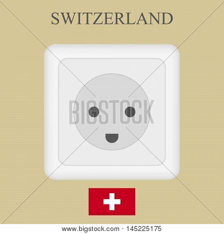 Switzerland Luxembourg Brazil realistic white electrical outlet power socket.