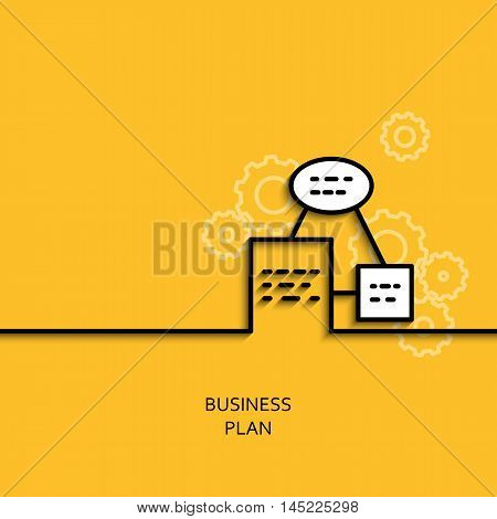 Vector business illustration in linear style with a picture of business plan as scheme on yellow background poster or banner template.