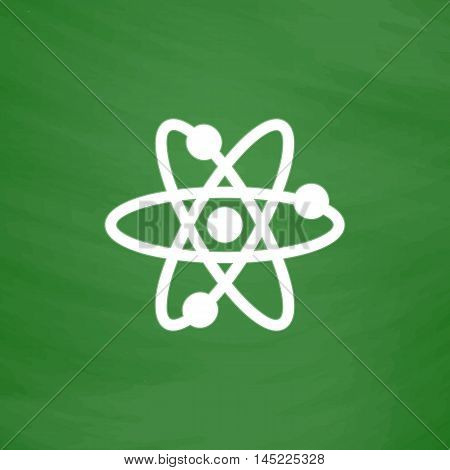 Atom. Flat Icon. Imitation draw with white chalk on green chalkboard. Flat Pictogram and School board background. Vector illustration symbol