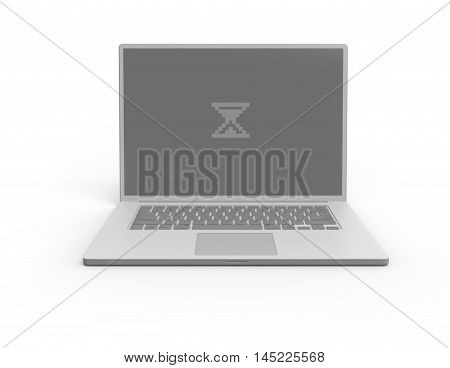 Illustration of 3D grey laptop isolated with sandglass loading screen