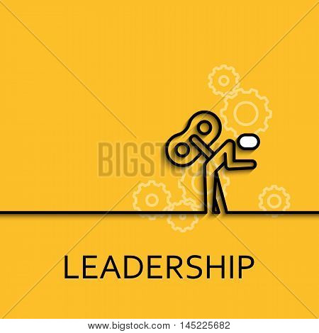 Vector business illustration in linear style with a picture of leadership as key man on yellow background poster or banner template.