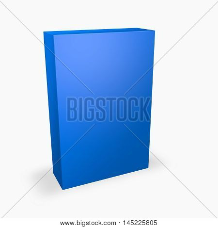 Blue product box with empty space and shadow 3D rendering.