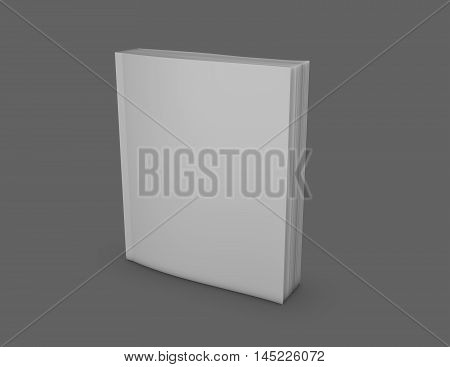 Paperback book with empty cover gray background 3D illustration.