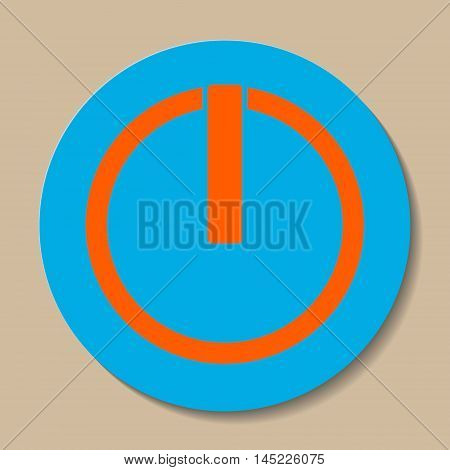 power button icon with a shadow on a light brown background. vector illustration.