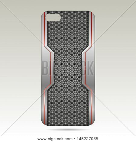 Phone case design .Realistic and metallic phone case.vector illustration on white background.