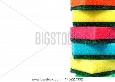 Kitchen sponges isolated on white background. Colorful dishwashing kitchen sponges
