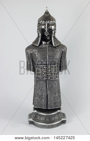 historical silver armor and helmet, ottoman and turkish silver helmet