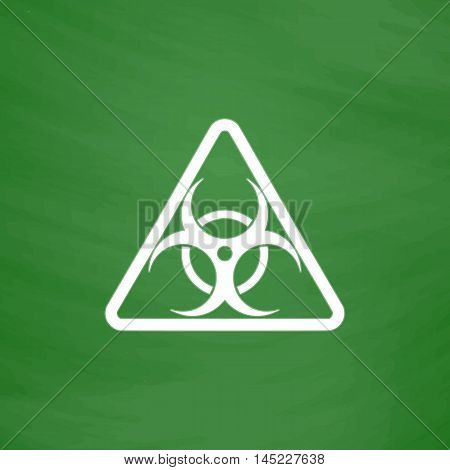 Biohazard. Flat Icon. Imitation draw with white chalk on green chalkboard. Flat Pictogram and School board background. Vector illustration symbol