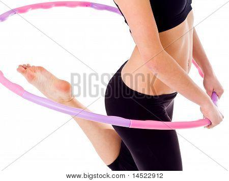 Woman holding Hula hoop reifen