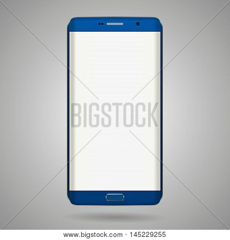 Smart phone with edge display design. Dark blue color with blank white display