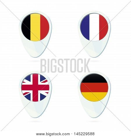 Belgium, France, United Kingdom, Germany Flag Location Map Pin Icon.