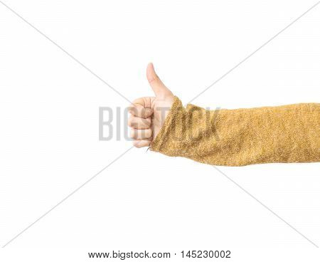 Closeup action of asian woman hand in good meaning isolated on white background