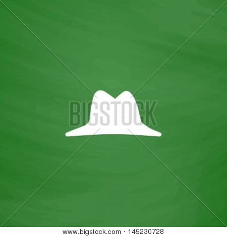 Men hat. Flat Icon. Imitation draw with white chalk on green chalkboard. Flat Pictogram and School board background. Vector illustration symbol