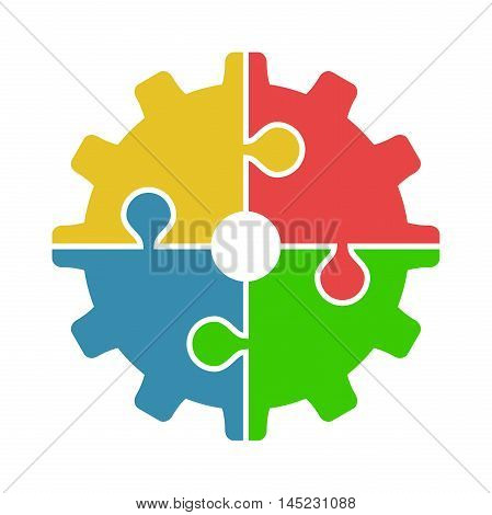 Four joined puzzle pieces of various colors forming cog isolated on white background. Teamwork cooperation and industry concept. Flat design. Vector illustration. EPS 8 no transparency