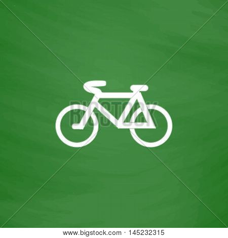 Mountain bike. Flat Icon. Imitation draw with white chalk on green chalkboard. Flat Pictogram and School board background. Vector illustration symbol