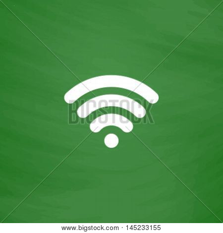 Free wi fi. Flat Icon. Imitation draw with white chalk on green chalkboard. Flat Pictogram and School board background. Vector illustration symbol