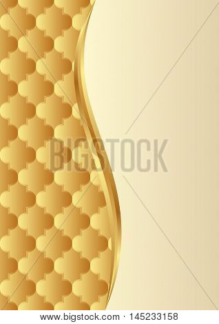 golden background with decorative pattern divided into two