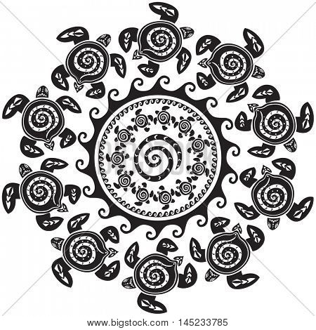 Round pattern with decorated turtles
