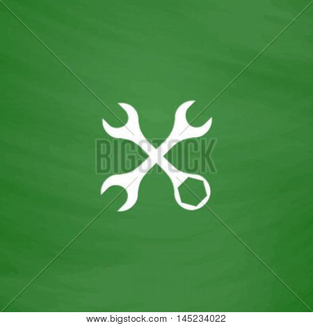 Settings Wrench. Flat Icon. Imitation draw with white chalk on green chalkboard. Flat Pictogram and School board background. Vector illustration symbol