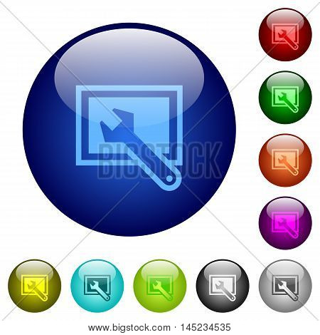 Set of color screen settings glass web buttons.