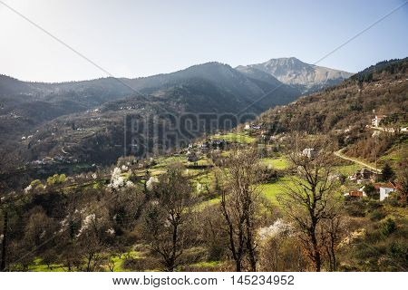 Image of sliding village Ropoto after a landslide in Greece