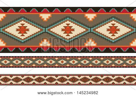American Indians tribal blanket patterns. Pattern brushes are included in vector file.