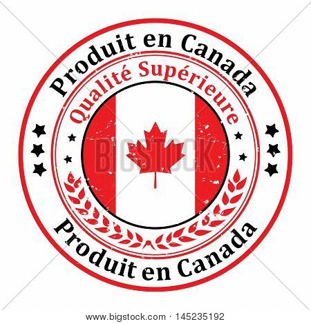 Made in Canada, Premium Quality - grunge label containing the map and flag colors of Canada. Print colors used