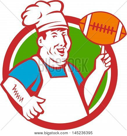 Illustration of a fat chef cook smiling wearing hat and apron twirling football ball viewed from front set inside circle done in retro style.
