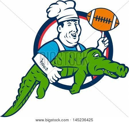 Illustration of a smiling chef cook wearing hat and apron twirling football ball and carrying alligator viewed from the side set inside circle done in retro style.