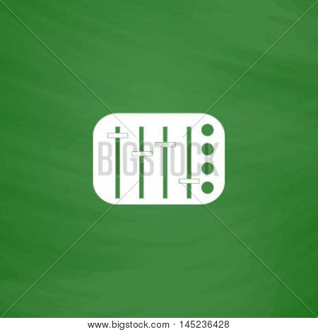 Sound Mixer Console. Flat Icon. Imitation draw with white chalk on green chalkboard. Flat Pictogram and School board background. Vector illustration symbol