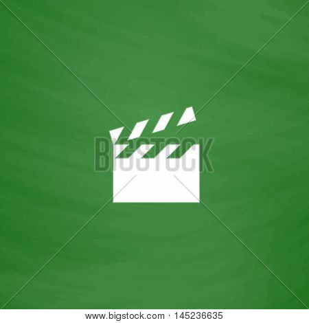 Movie film board. Flat Icon. Imitation draw with white chalk on green chalkboard. Flat Pictogram and School board background. Vector illustration symbol