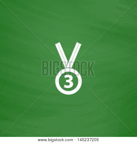 Bronze medal with ribbon. third prize, award accomplishment. 3nd place. Flat Icon. Imitation draw with white chalk on green chalkboard. Flat Pictogram and School board background. Vector illustration symbol