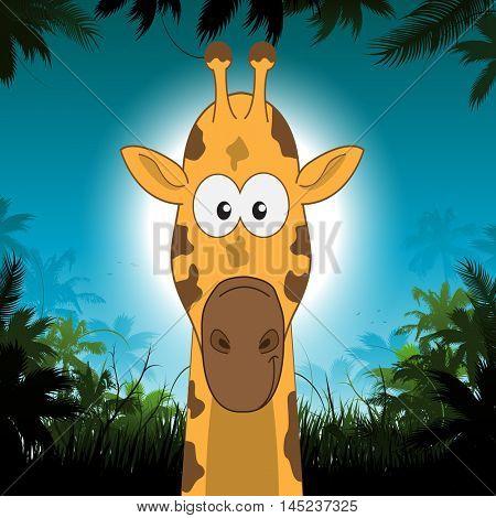 Cute cartoon giraffe in front of jungle background