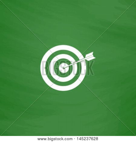 A dart is in the center of a dartboard. Target concept. Flat Icon. Imitation draw with white chalk on green chalkboard. Flat Pictogram and School board background. Vector illustration symbol