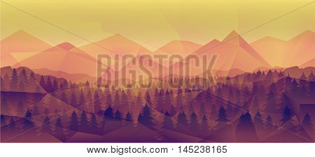 Forest landscape, nature vector background great as a wallpaper, design template, flyer, etc