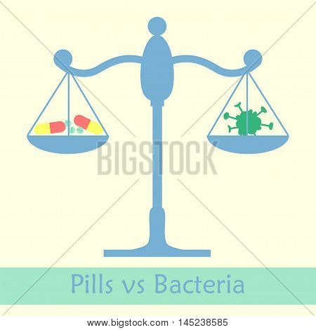 Antibiotics vs bacteria libra concept. Vector illustration of pill against infection