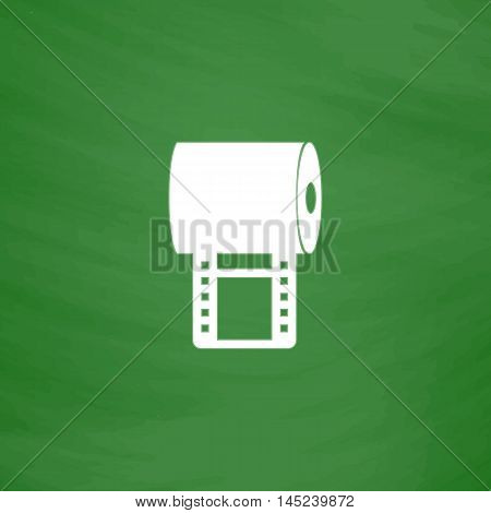 Film strip. Flat Icon. Imitation draw with white chalk on green chalkboard. Flat Pictogram and School board background. Vector illustration symbol
