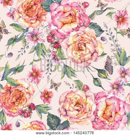 Classical vintage floral seamless background, watercolor blooming roses and butterflies, botanical natural watercolor illustration