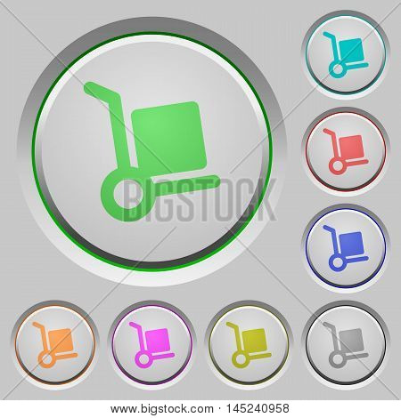 Set of color parcel delivery sunk push buttons.